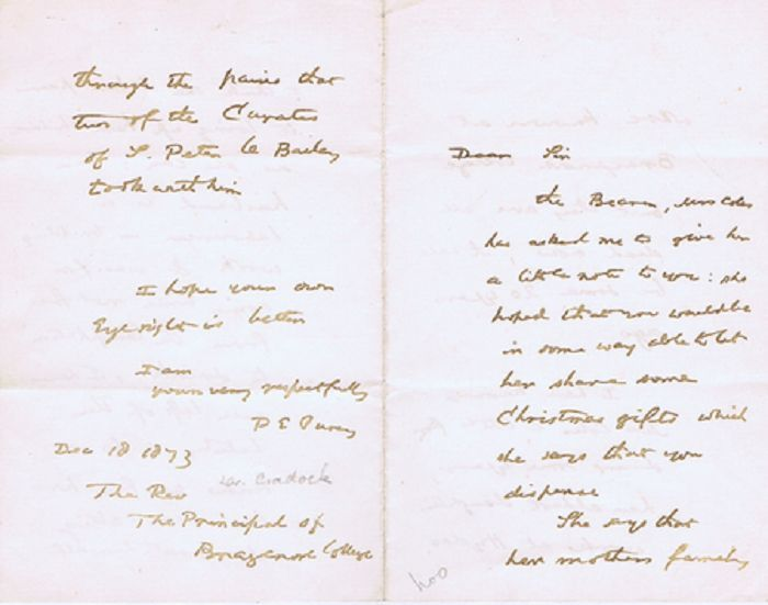 AUTOGRAPH NOTE, SIGNED. P. E. Pusey.