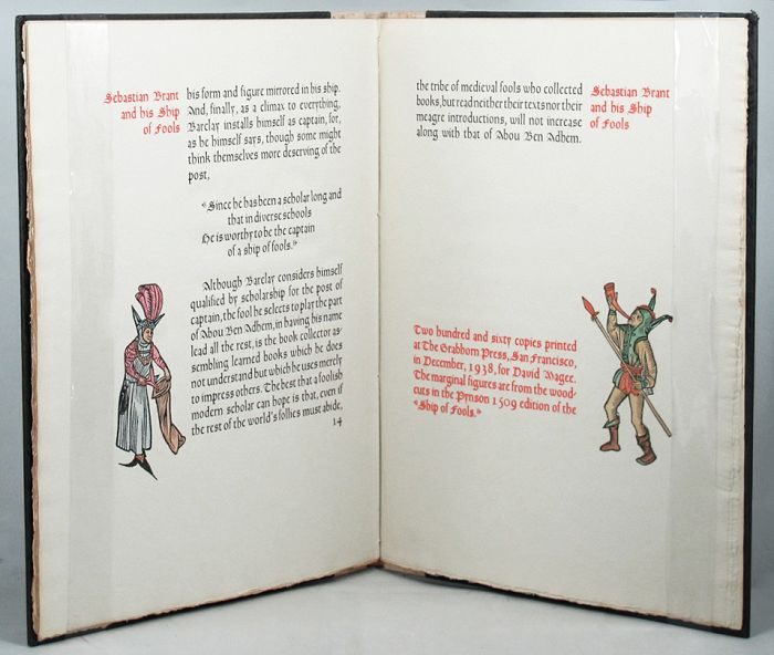 """AN ORIGINAL LEAF FROM THE FIRST EDITION OF ALEXANDER BARCLAY'S ENGLISH TRANSLATION OF SEBASTIAN BRANT'S """"SHIP OF FOOLS"""", Sebastian Brant."""