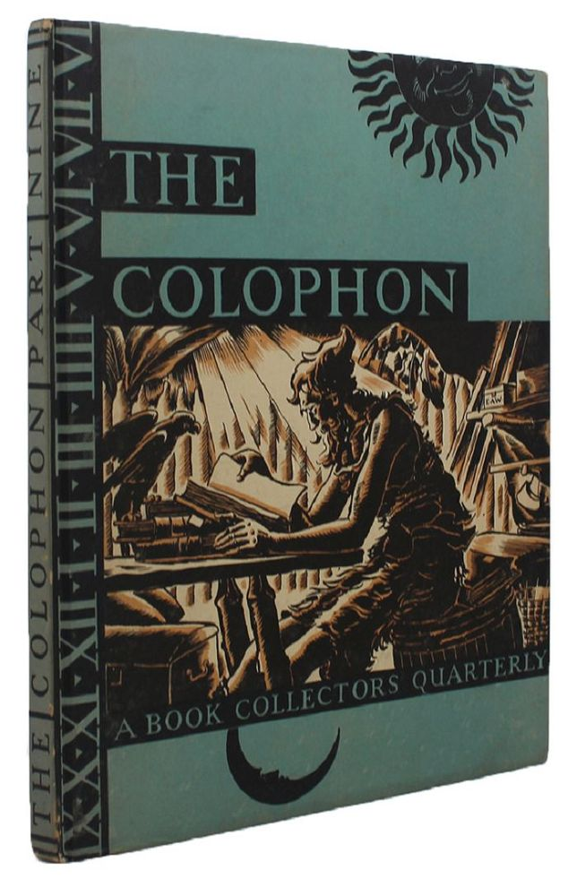 THE COLOPHON. Elmer Adler, others.