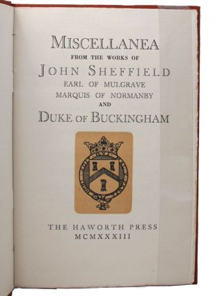 MISCELLANEA. John Sheffield.