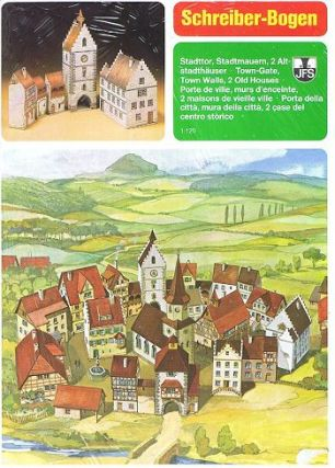 TOWN GATE, TOWN WALLS, 2 OLD HOUSES. Paper Model Kit, Schreiber-Bogen, Hubert Siegmund.