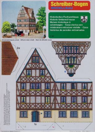 HISTORIC TIMBERED HOUSE. Paper Model Kit, Schreiber-Bogen.