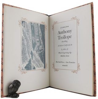 A LETTER FROM ANTHONY TROLLOPE describing a visit to California in 1875. Anthony Trollope