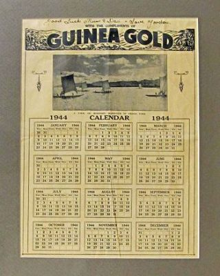 GUINEA GOLD: CALENDAR FOR 1944. Australian Defence Force
