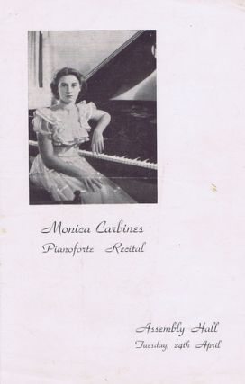 MONICA CARBINES PIANOFORTE RECITAL. Monica Carbines, theatre program.