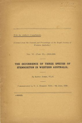 THE OCCURRENCE OF THREE SPECIES OF STENOCHITON IN WESTERN AUSTRALIA. Edwin Ashby.