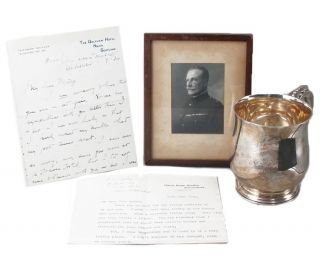 TWO SIGNED LETTERS; an INSCRIBED FRAMED PHOTOGRAPH and a STERLING SILVER CHRISTENING MUG. Percival Christopher Wren.