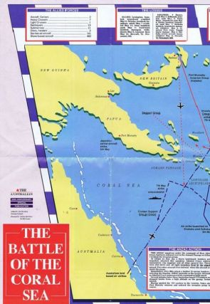 THE BATTLE OF THE CORAL SEA MAP. Australian Defence Force, The Australian Newspaper