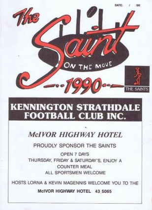 THE SAINT ON THE MOVE 1990. Kennington Strathdale Football Club Inc