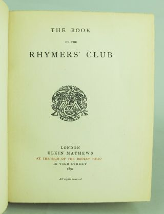 THE BOOK OF THE RHYMERS' CLUB.