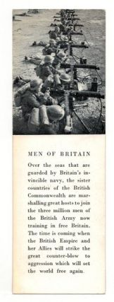 OFFICIAL WORLD WAR II BOOKMARKER (July, 1941). World War II bookmark