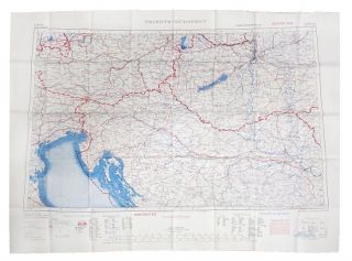 CLOTH MAP - TRIESTE - BUDAPEST -WEIN - KRAKOW. British Army