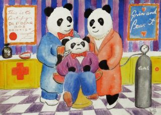 PANDAS AT THE DENTIST. Noel Bode, Artist