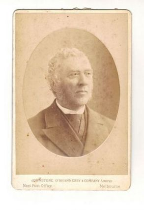 19th CENTURY STUDIO PHOTOGRAPH OF UNIDENTIFIED MAN. O'Shannessy Johnstone, Melbourne Company Limited
