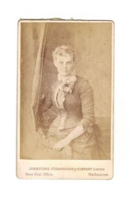 19th CENTURY STUDIO PHOTOGRAPH OF UNIDENTIFIED WOMAN. O'Shannessy Johnstone, Melbourne Company...