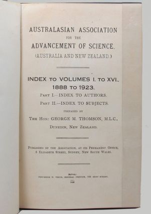 AUSTRALASIAN ASSOCIATION FOR THE ADVANCEMENT OF SCIENCE. The Hon. George M. Thomson