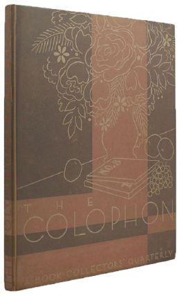 THE COLOPHON. Elmer Adler, others