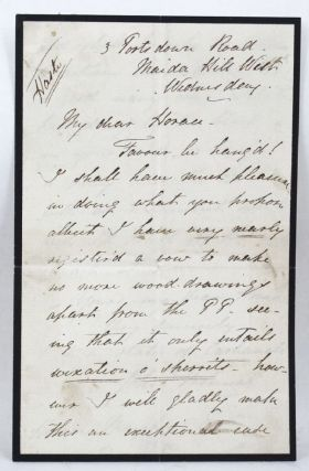 AUTOGRAPH LETTER, Signed, from John Tenniel to Horace [Mayhew]. John Tenniel