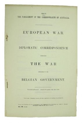 EUROPEAN WAR. Parliamentary Paper Commonwealth of Australia