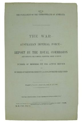 THE WAR:. Parliamentary Paper Commonwealth of Australia