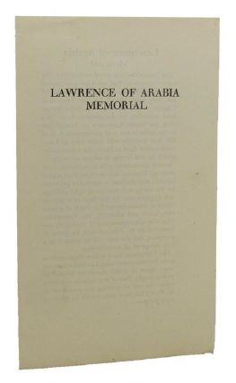 LAWRENCE OF ARABIA MEMORIAL. T. E. Lawrence